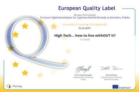 """""""High Tech… Jak bez tego żyć?"""" - projekt nagrodzony Europejską Odznaka"""