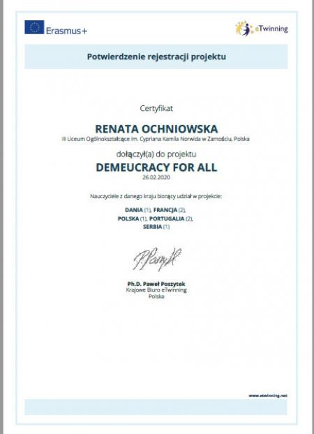 DemEUcracy for All - zatwierdzenie projektu